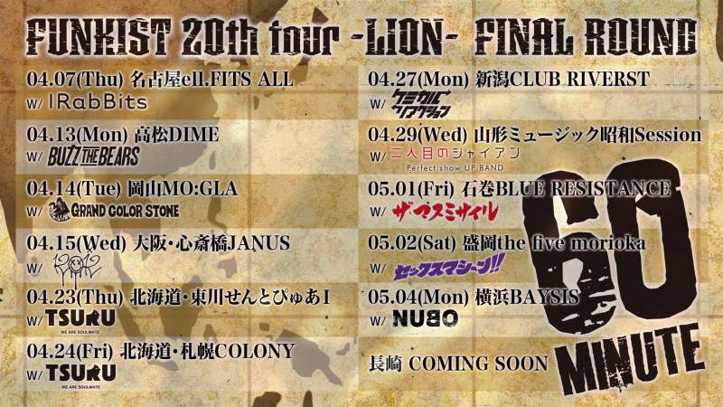 FUNKIST 20th TOUR LION FINAL ROUND~60minute~出演決定![5/4(月祝)横浜BAYSIS]1596815940